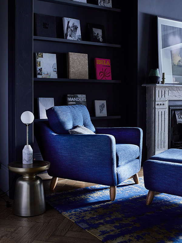 Cosenza armchair in blue fabric