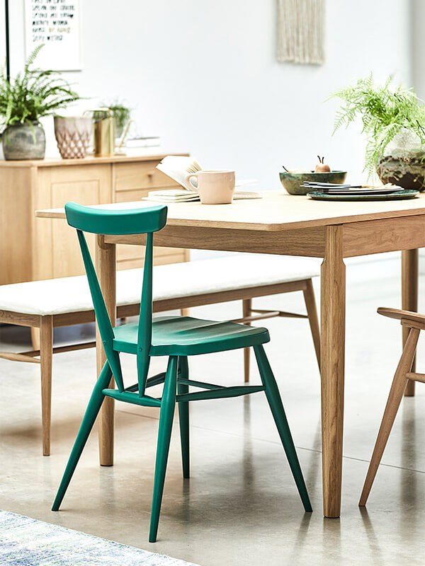 Originals stacking chair and Capena dining table