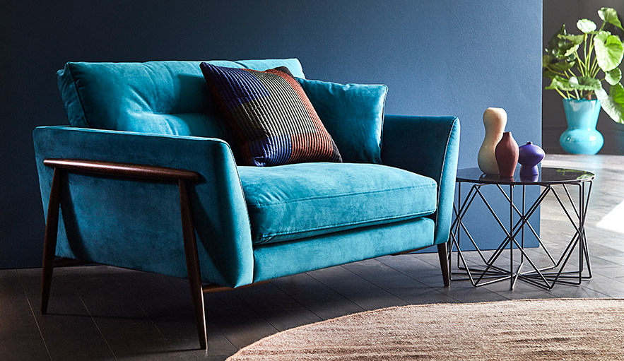 Bellaria snuggler in blue fabric (image hidden from page)